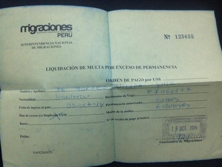 "Tarjeta andina de Migración, o ""visto"" para entrar no Peru"